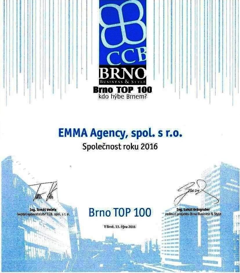 Naše ocenění TOP 100 2016
